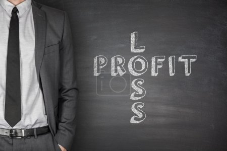 Loss profit on blackboard