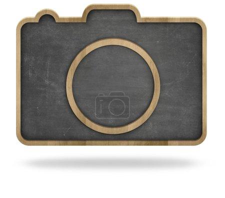 Black blank camera shape blackboard with wooden frame