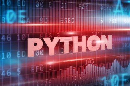 Photo pour Fond rouge de concept de python avec le texte rouge - image libre de droit