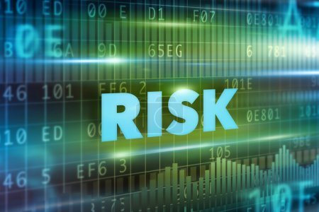Photo for Risk concept green background with blue text - Royalty Free Image