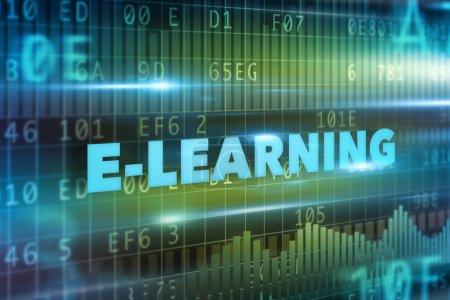 Photo pour E-learning concept bleu texte fond vert - image libre de droit