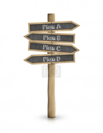 Plan A, B, C, D blackboard road sign