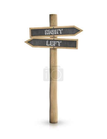 Right and left blackboard road sign