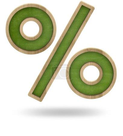 Photo pour Tableau noir la forme du signe de pourcentage vert isolé sur blanc - image libre de droit