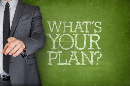Photo for Whats your plan on blackboard with businessman finger pointing - Royalty Free Image