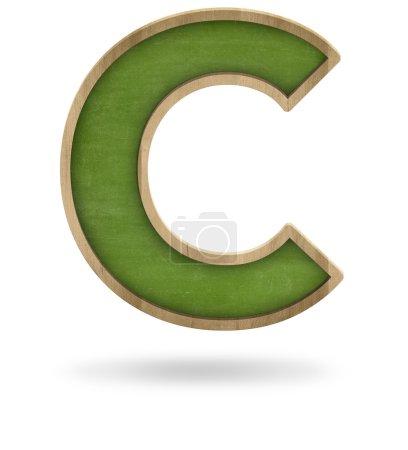 Green blank letter C shape blackboard