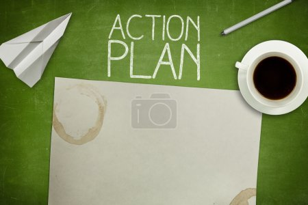 Photo for Action plan concept on green blackboard with empty paper sheet and coffee cup - Royalty Free Image