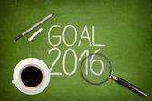 2016 cíle koncepce na zelené tabule s prázdný papír list