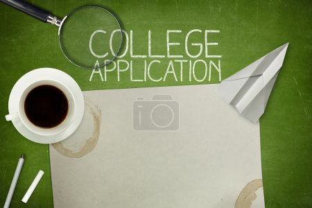 College application concept on green blackboard with empty paper sheet