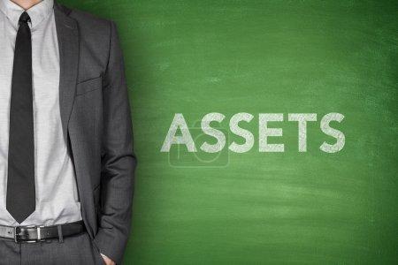 Assets text on blackboard