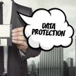 Data protection text on speech bubble with busines...