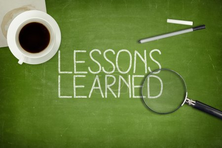 Lessons learned concept on green blackboard