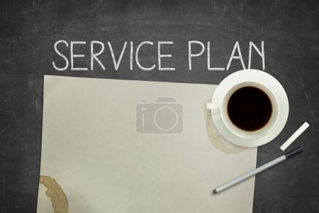 Photo for Service plan concept on blackboard with pen and paper - Royalty Free Image