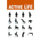 exercises on chair stick man set