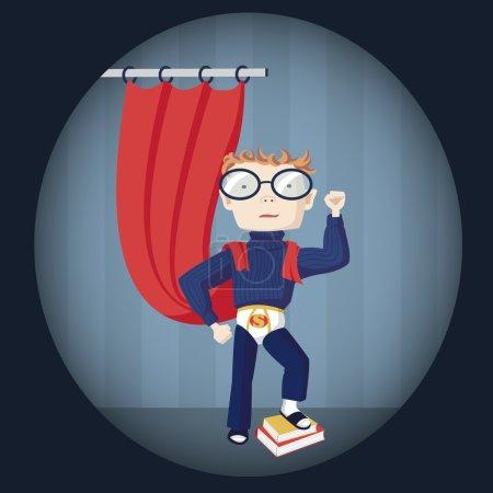 Illustration for Illustration of  a nerd superhero - Royalty Free Image