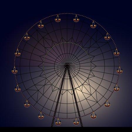 Illustration pour Nuit Grande roue avec éclairage - image libre de droit