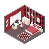 Vector red  isometric room