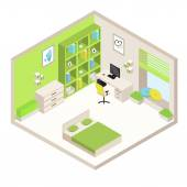 Vector green isometric room with furniture