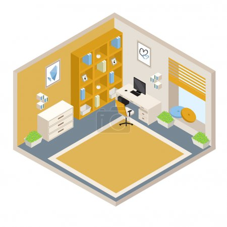 Illustration for Vector orange isometric room with furniture - Royalty Free Image