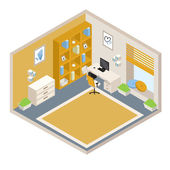 Vector orange isometric room with furniture