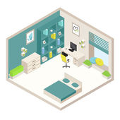 isometric white and emerald bedroom