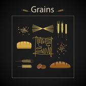 grain food icon set