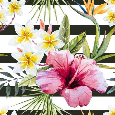 Photo pour Beau motif avec de belles fleurs d'aquarelle tropicales et perroquet - image libre de droit