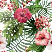 "Постер, картина, фотообои ""pattern orchid hibiscus leaves watercolor tropics"""