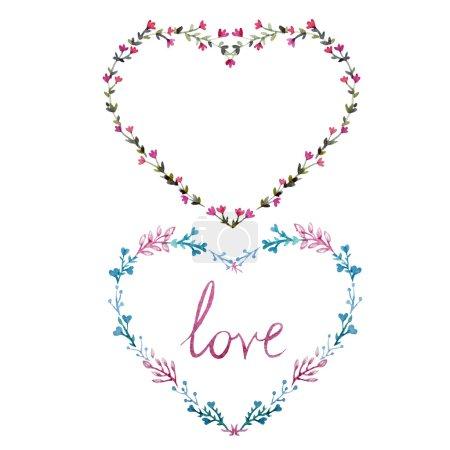 Watercolor wreath hearts