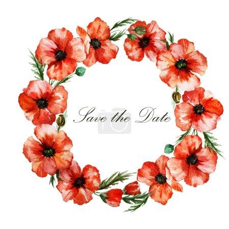 Watercolor poppy wreath