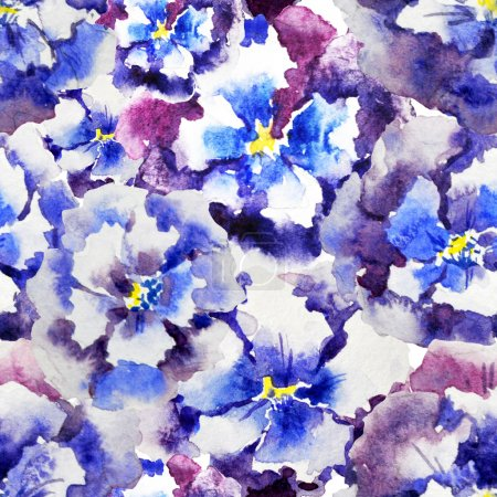 Foto de Watercolor pansies  pattern - illustration - Imagen libre de derechos