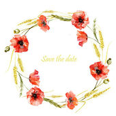 Circle wreath of  poppy and  wheat