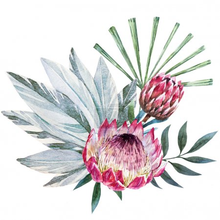 Raster tropical protea composition