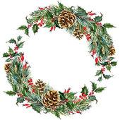Rastrové akvarel vánoční věnec