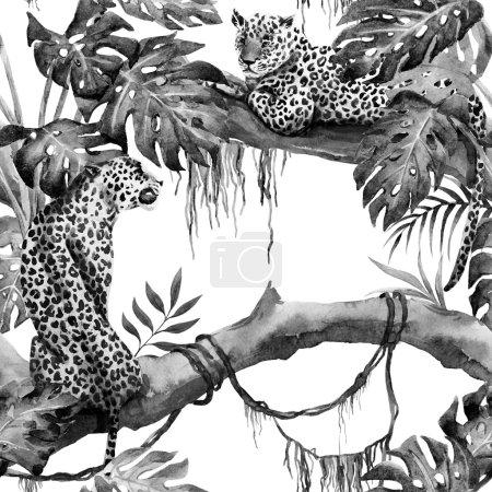 Watercolor raster leopard pattern
