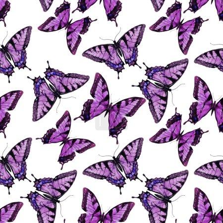 Illustration pour Modèle magnifique avec de beaux papillons aquarelle dessinés à la main - image libre de droit