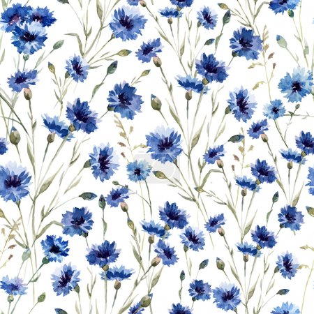 Illustration for Beautiful vectorn pattern with blue flowers on white fon - Royalty Free Image