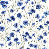 Beautiful vectorn pattern with blue flowers on white fon