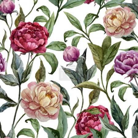 Photo for Beautiful vector watercolor pattern with peonies on white fon - Royalty Free Image