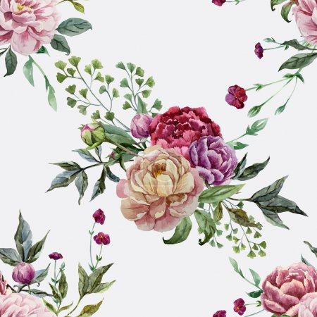 Illustration for Beautiful vector pattern with pink flowers on white fon - Royalty Free Image