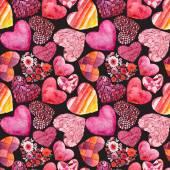 Watercolor hearts pattern