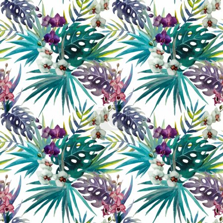 Watercolor jungle pattern