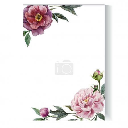 Photo for Floral watercolor frame - vector illustration - Royalty Free Image