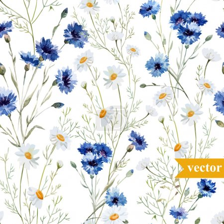 Photo for Watercolor  wild flowers background vector - Royalty Free Image