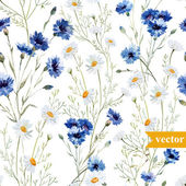 Watercolor poppy cornflower daisy wild flowers background