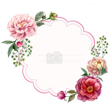 Illustration for Watercolor floral frame card - vector illustration - Royalty Free Image