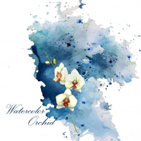 Illustration for Watercolor orchid flower - vector illustration - Royalty Free Image