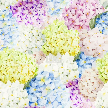 Hydrangea Watercolor flowers pattern