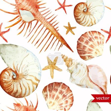 Ocean pattern watercolor background