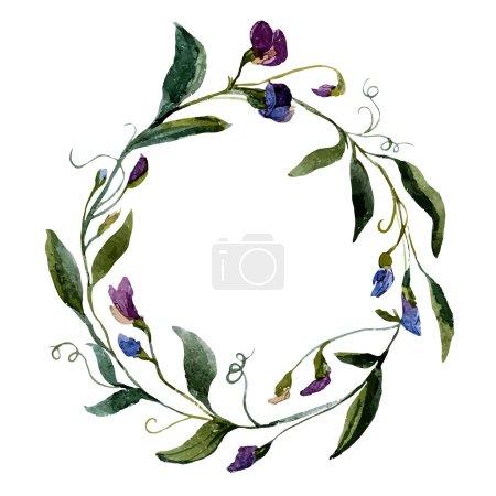 Watercolor petunia  flower  wreath